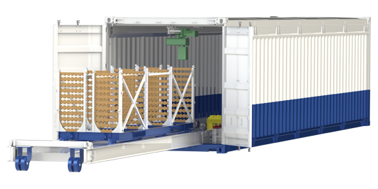 Container Storage with Retractable Floor